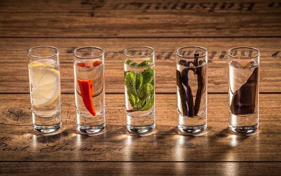 Wallpaper Five glass cups of drinks