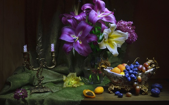 Wallpaper Flowers, lily, apricots, grapes, still life
