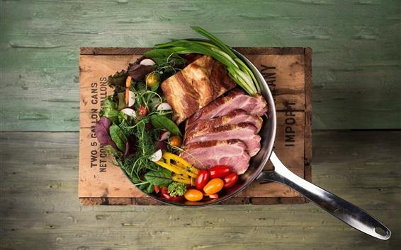 Wallpaper Food, ham, tomatoes, meat, pot, wood board