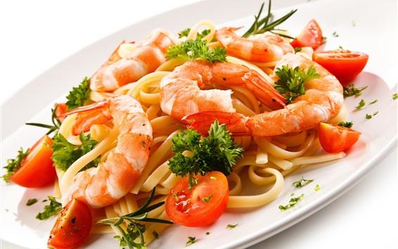 Fond d'écran Nourriture, pâtes, crevettes, tomates