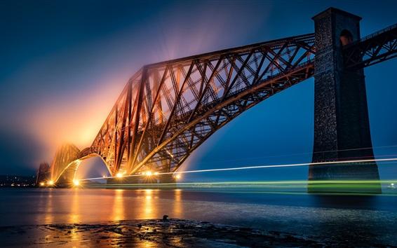 壁紙 フォース橋、スコットランド、ライトトレイル、イルミネーション、川、夜
