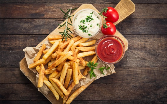 Wallpaper French fries, tomatoes sauce