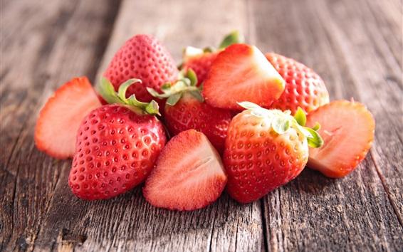 Wallpaper Fresh strawberry, wood board