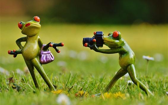 배경 화면 개구리 장난감, 포즈, 잔디