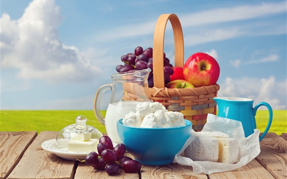 Wallpaper Fruit, grapes, apples, basket, cheese