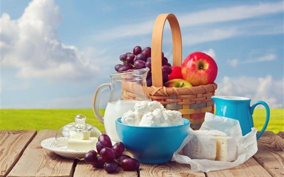 Wallpaper Fruit, grapes, apples, basket, cheese