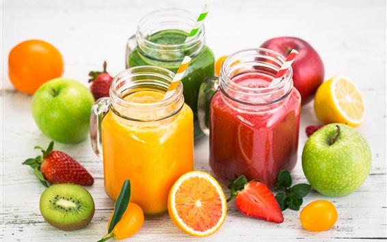 Fondos de pantalla Jugo de fruta, kiwi, naranja, manzana