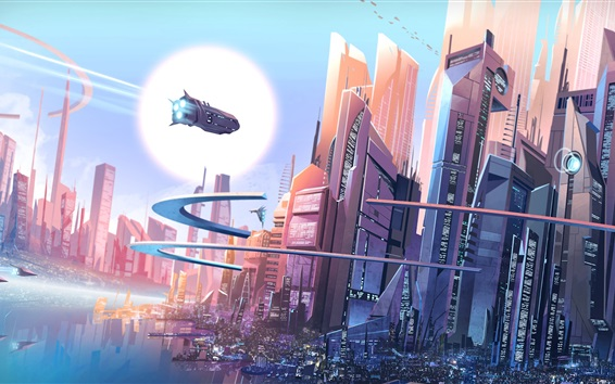 Wallpaper Futuristic city, fantasy, buildings, spaceships