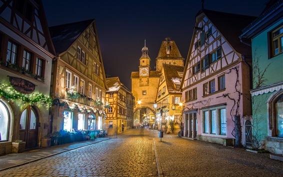 Fond d'écran Allemagne, Bavière, ruelle, maisons, nuit, lumières