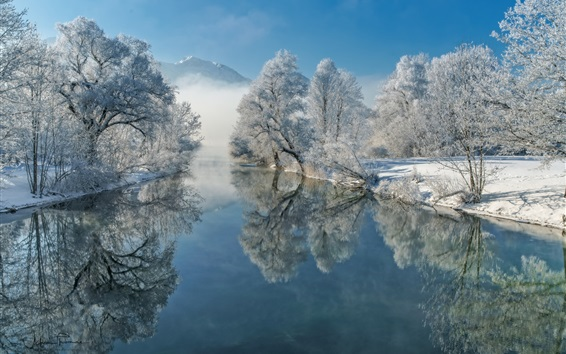 Wallpaper Germany, Bavaria, river, water reflection, winter, trees, snow