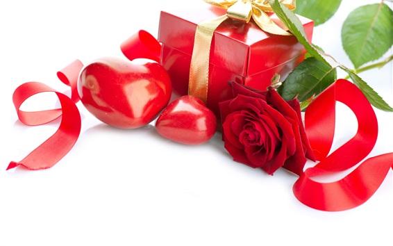 Wallpaper Gift, love heart, rose, ribbon