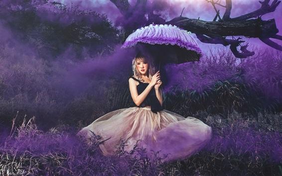 Wallpaper Girl, skirt, nature, umbrella, smoke, art photography