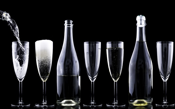 Wallpaper Glass cups and bottles, drinks, black background
