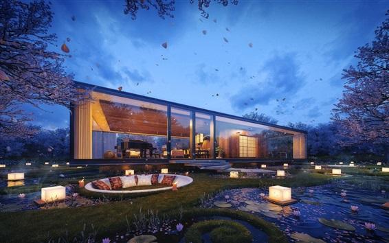 Fonds d\'écran Maison de verre, jardin, design 1920x1080 Full HD 2K image