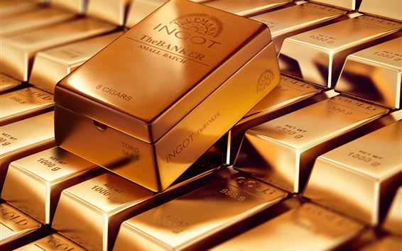 Wallpaper Gold bars, precious metal