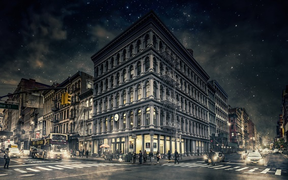 Wallpaper Gotham, New York, Manhattan, city, night, street, buildings, USA