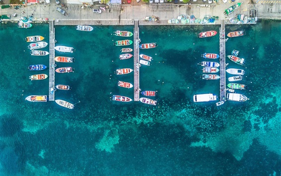 Wallpaper Guadeloupe, pier, yachts, sea, top view