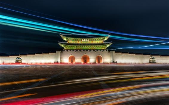 Fond d'écran Porte de Gwanghwamun, Palais de Gyeongbok, Séoul, Corée, nuit, lumières