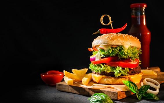 Wallpaper Hamburger, ketchup, french fries