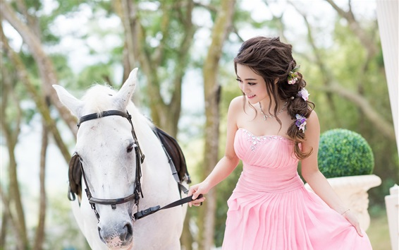 Wallpaper Happy Asian girl and horse, pink skirt