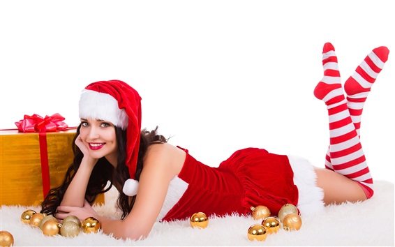 Wallpaper Happy Christmas girl, red dress, gifts