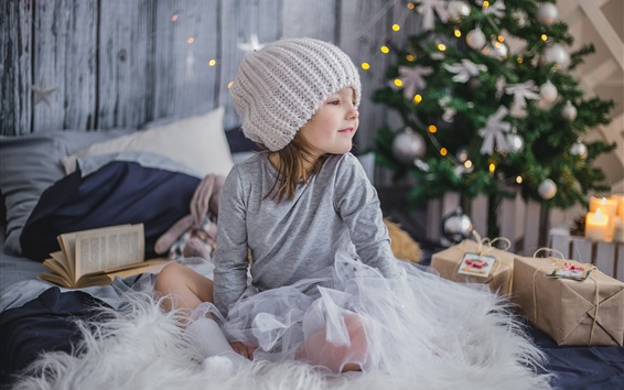 Wallpaper Happy little girl, hat, Christmas tree, New Year