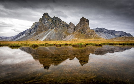 Wallpaper Iceland, East Horn, river, mountain, water reflection