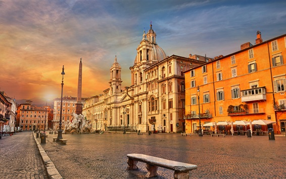 Wallpaper Italy, Rome, Piazza Navona, obelisk, city