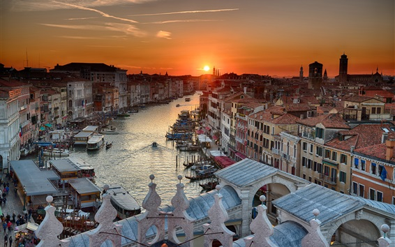 Wallpaper Italy, Venice, boats, river, houses, sunset