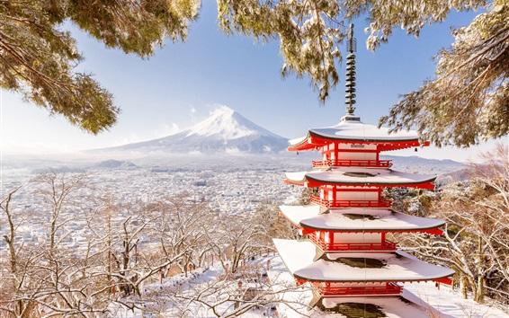 Wallpaper Japan, Fuji mount, pagoda, winter, snow, trees