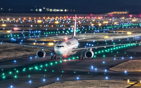 Wallpaper Japan, Kansai international airport, Airbus A330-200 plane flight, night