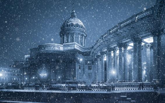 Papéis de Parede Catedral de Kazan, São Petersburgo, inverno, neve, passeio, Rússia
