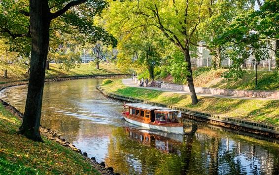 Papéis de Parede Letônia, Riga, rio, barco, parque, árvores