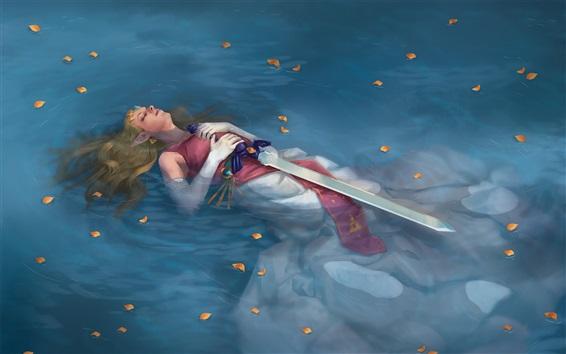 Обои Легенда о Зельде, девушка, лежащая в воде, меч, художественная фотография