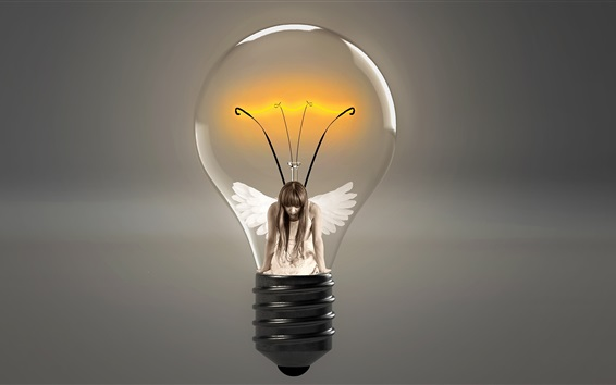 Wallpaper Light bulb, angel, girl, wings, creative picture