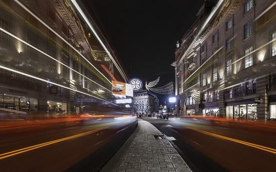 Papéis de Parede Linhas de luz, cidade, rua, Londres, Inglaterra