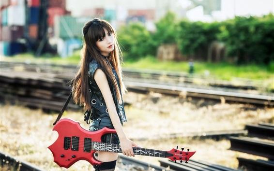 Wallpaper Long hair Asian girl, guitar, music