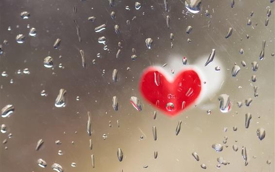 Обои Любовь сердце, стекло, капли воды