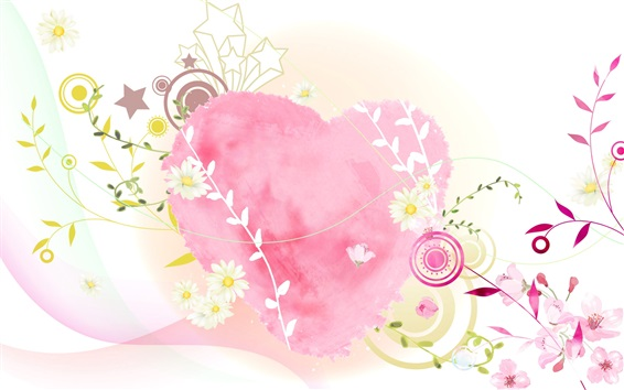 Wallpaper Love heart, pink style, art picture