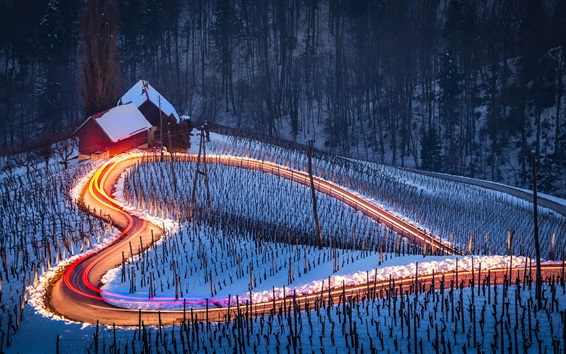 Wallpaper Love heart, road, snow, house, night, light lines
