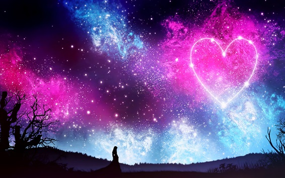 Wallpaper Love heart, sky, starry, night, girl, silhouette, beautiful picture