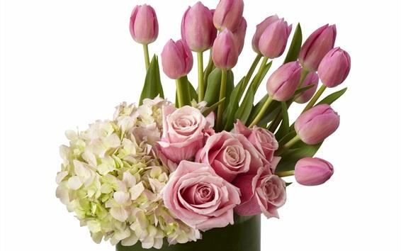 Обои Многие цветы, гортензия, сирень, розы, тюльпаны