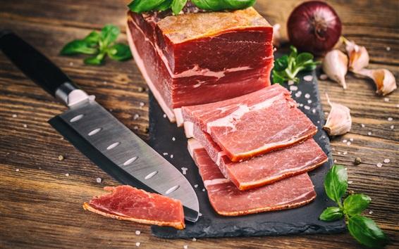 Wallpaper Meat, knife, cutting