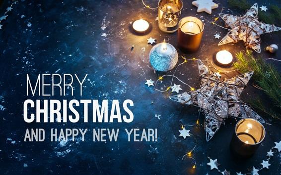 Papéis de Parede Feliz Natal e Feliz Ano Novo, velas, estrelas