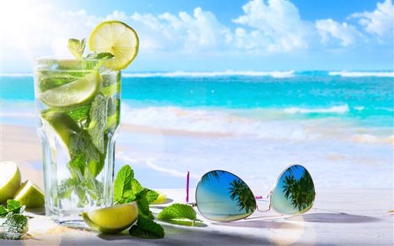 Wallpaper Mojito, lemon, mint, sunglasses, sea