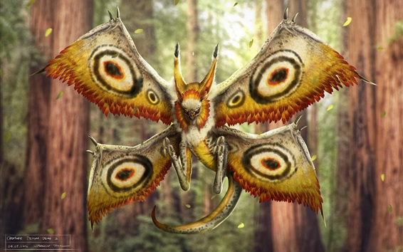 Wallpaper Monster, like a moth, wings, creative design