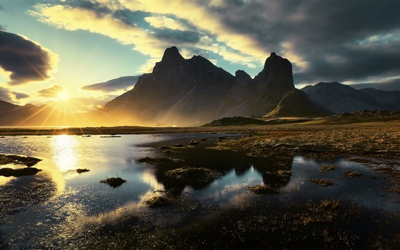 Fond d'écran Matin, lumière du soleil, montagnes, éblouissement