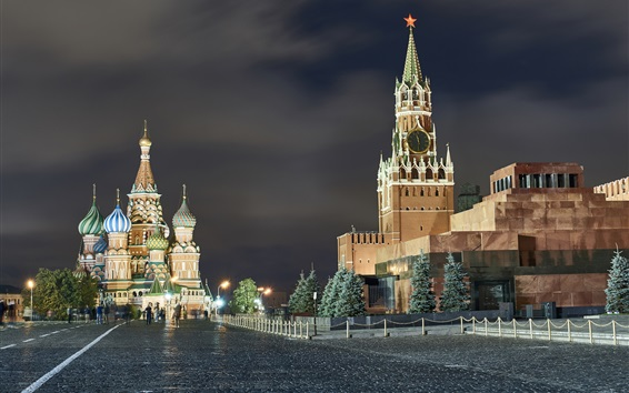 Wallpaper Moscow at night, city, Red Square, lights, Russia