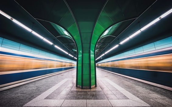 Wallpaper Munich, Bavaria, Germany, metro, lights lines, speed