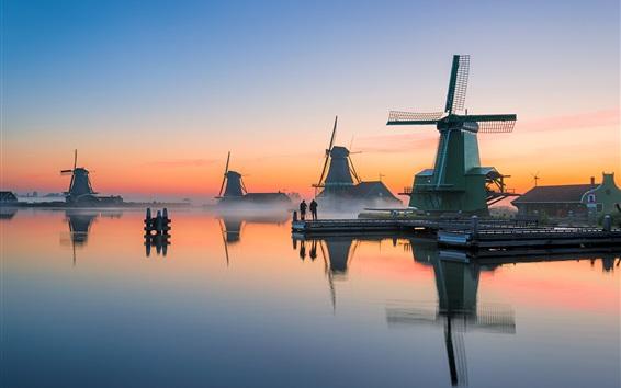 Wallpaper Netherlands, windmills, river, morning, fog